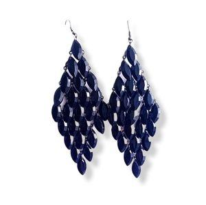CHANDELIER Black Diamond Shape Earrings